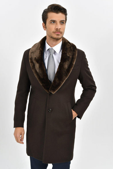 Sayki Men's Brown Overcoat