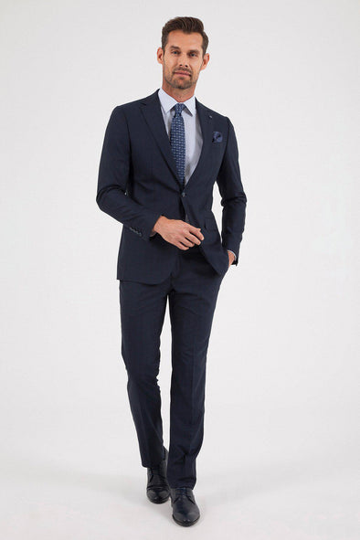SAYKI Men's Slim Fit  Single Breasted Navy Checkered Suit