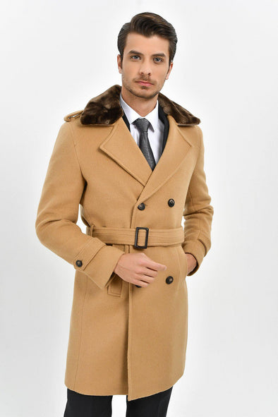 Sayki Men's Camel Overcoat