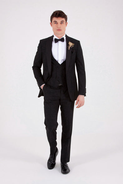 Sayki Men's Slim Fit Single Breasted Black Tuxedo