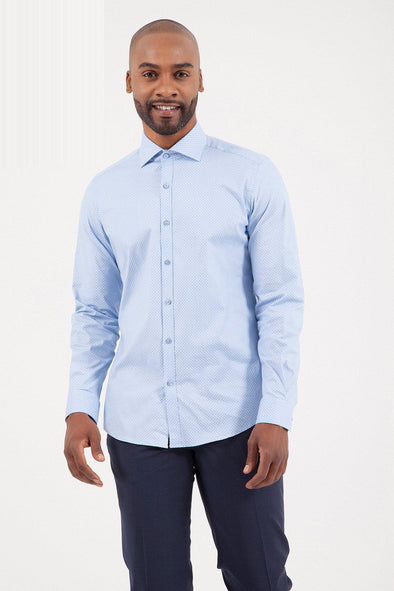 SAYKI Men's Slim Fit Light Blue Cotton Shirt