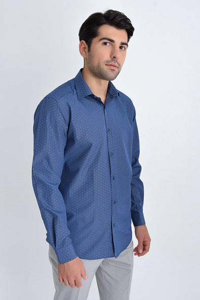 SAYKI Men's Regular Fit Navy Patterned Shirt