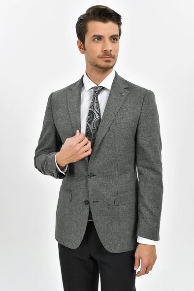 Sayki Men's Andrea Grey Houndstooth Blazer