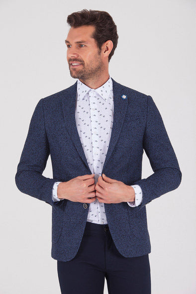 Sayki Men's Lucas Slim Fit Navy Blazer