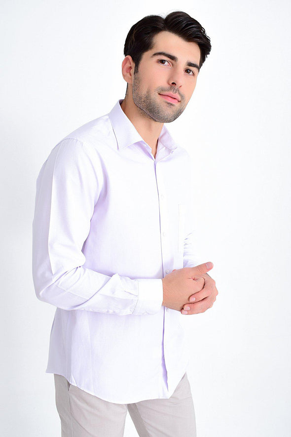 SAYKI Men's Classic Fit Patterned Lilac Shirt