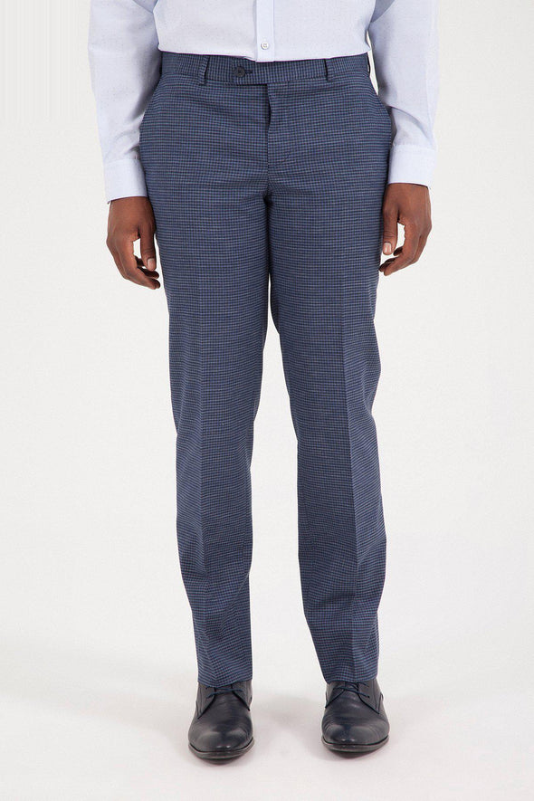 SAYKI Men's Marlane Dynamic Fit Navy Gingham Pant