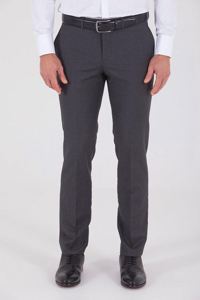 Sayki Men's Slim Fit Classic Dark Grey Wool Pant