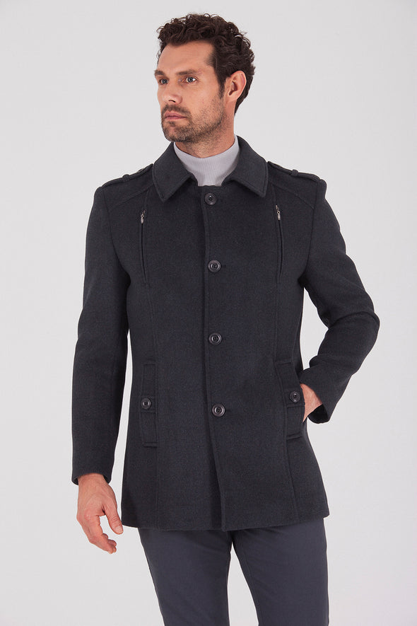 Sayki Men's Charcoal Coat