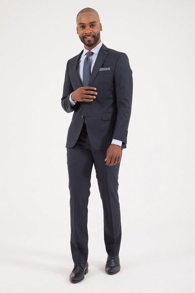 SAYKI Men's Slim Fit Navy Striped Wool Suit