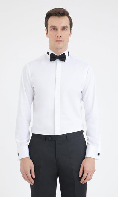 SAYKI Men's Slim Fit White Cotton Tuxedo Shirt