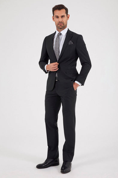 SAYKI Men's Slim Fit Bocelli Black Suit