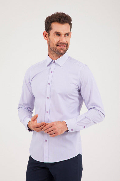 SAYKI Men's Slim Fit Purple Stripe Cotton Shirt