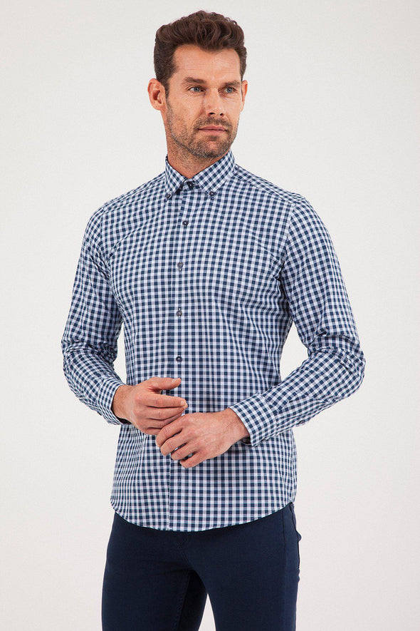 Sayki Men's Slim Fit Navy Checkered Cotton Shirt