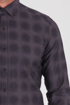 Sayki Men's Slim Fit Charcoal Cotton Shirt
