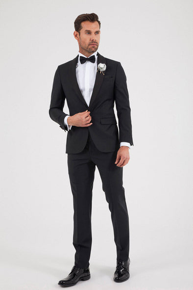SAYKI Men's Bocelli Slim Fit Single Breasted Black Tuxedo