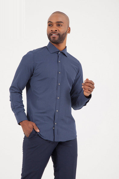 SAYKI Men's Slim Fit Dark Navy Shirt