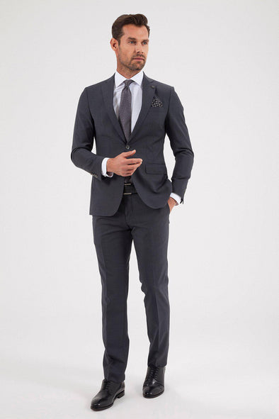 SAYKI Men's Slim Fit Grey Suit