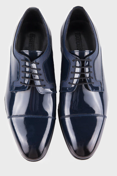 SAYKI Men's Navy Patent Leather Shoes