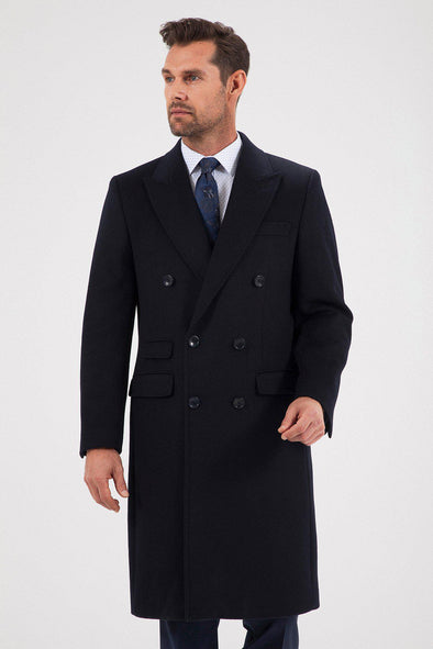 Sayki Men's Helsinki Navy Overcoat