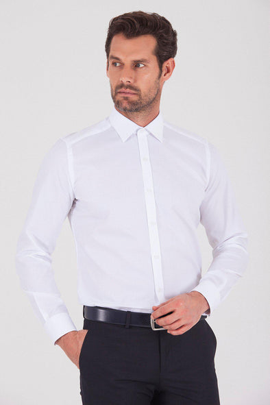 Sayki Men's Slim Fit Cotton White Shirt