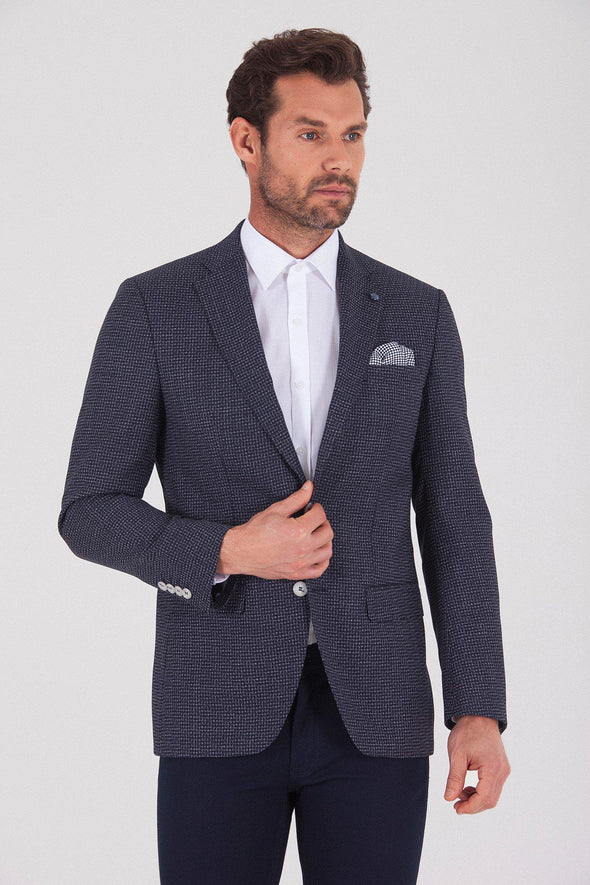 Sayki Men's Andrea Slim Fit Navy Gingham Blazer