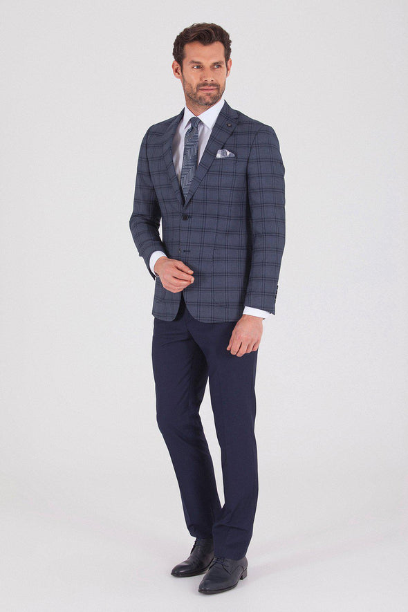 Sayki Men's Lucas Slim Fit Dark Navy Suit