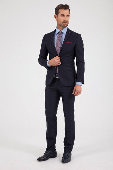 Sayki Men's Andrea Slim Fit Single Breasted Navy Suit