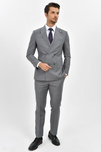 SAYKI Men's Slim Fit Double Breasted Suit