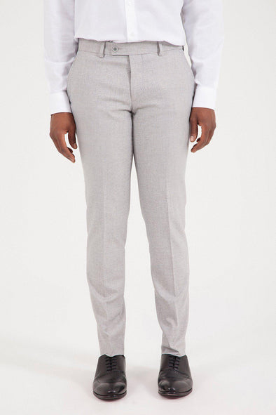 SAYKI Men's Slim Fit Light Grey Pant