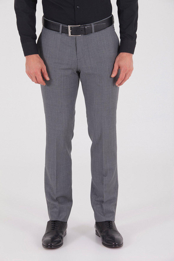 Sayki Men's Slim Fit Classic Grey Houndstooth Pant