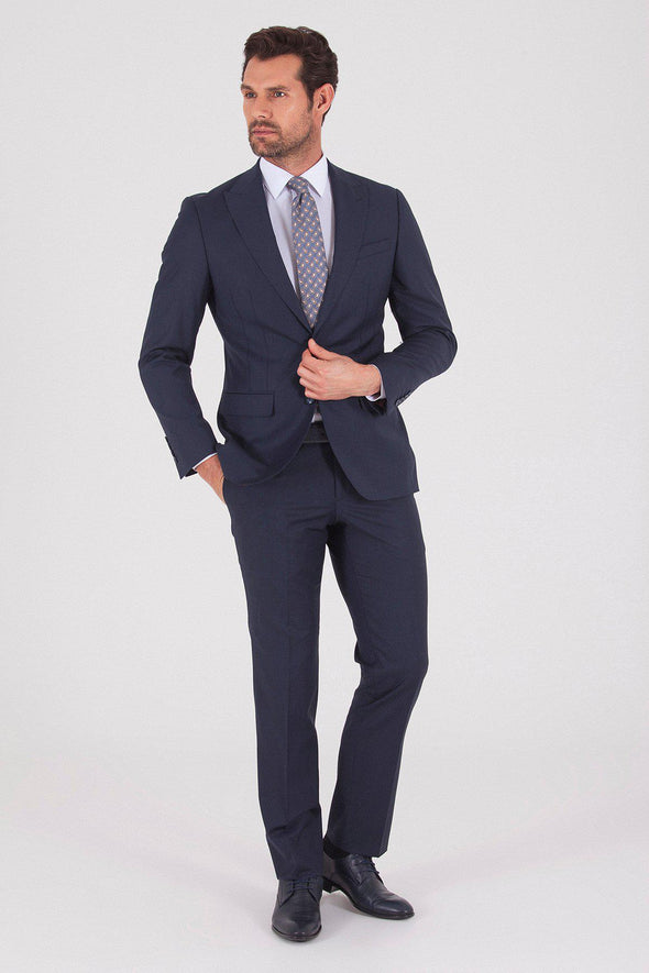 Sayki Men's Andrea Slim Fit Single Breasted  Dark Navy Suit