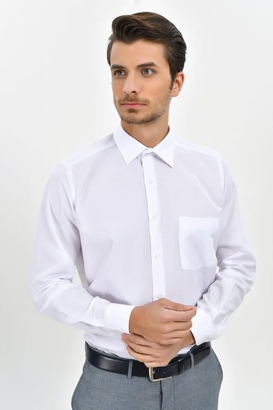 SAYKI Men's Classic Fit White Shirt