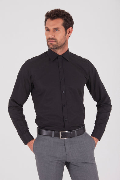 Sayki Men's Regular Fit Black Shirt