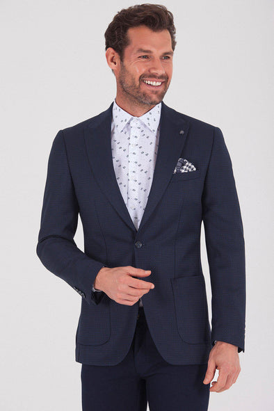 Sayki Men's Andrea Slim Fit Navy Blazer