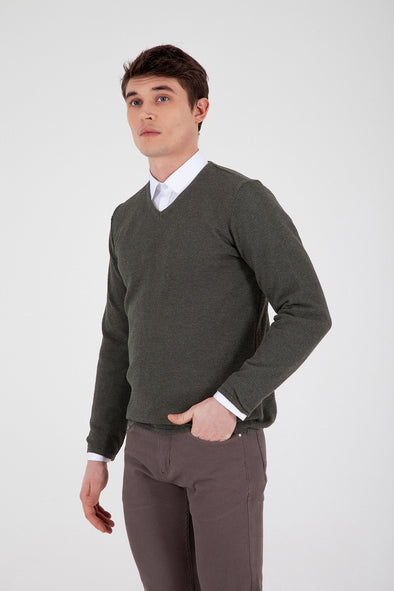Sayki Men's V Neck Khaki Knitwear