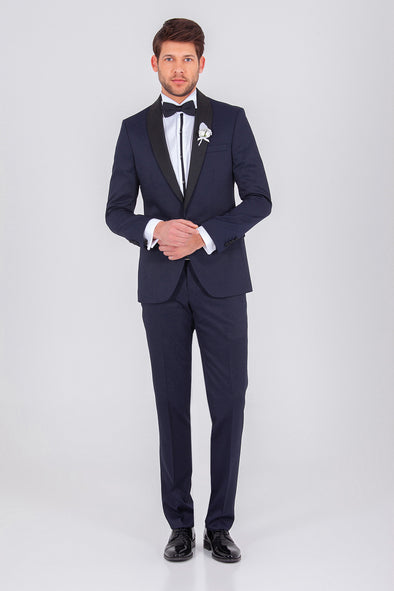 SAYKI Men's Single Breasted Slim Fit Navy Tuxedo