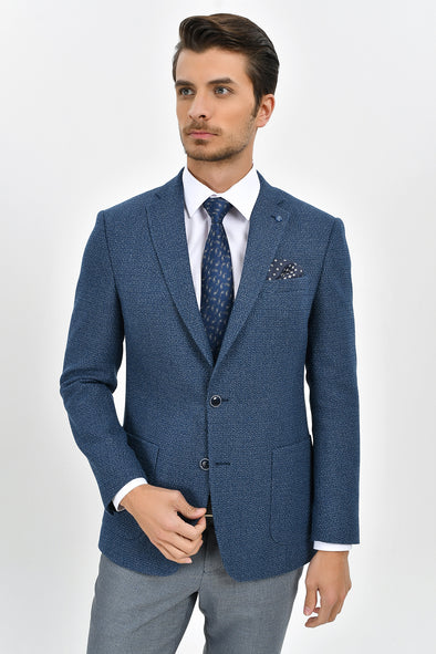 Sayki Men's Lucas Slim Fit Blue Blazer