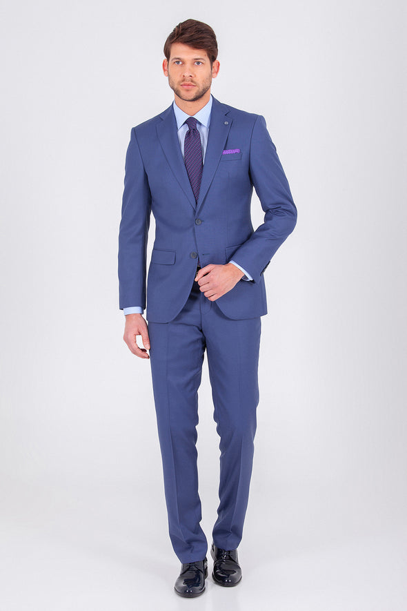 SAYKI Men's Single Breasted Slim Fit Blue Andrea Suit