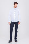 SAYKI Men's Slim Fit Polka Dot Blue Shirt