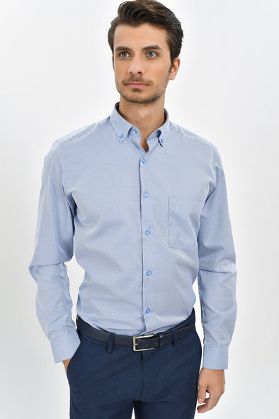 Sayki Men's Slim Fit Cotton Blue Checkered Shirt