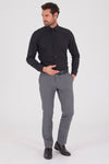 Sayki Men's Slim Fit Black Cotton Shirt