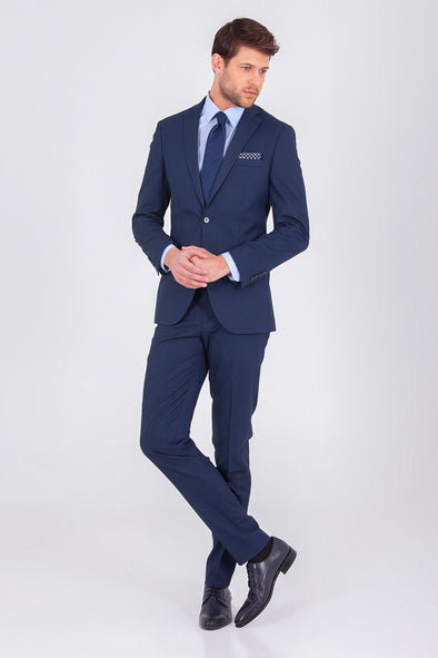 SAYKI Men's Single Breasted Slim Fit Navy Andrea Suit