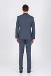 SAYKI Men's Single Breasted Slim Fit Andrea Navy Suit