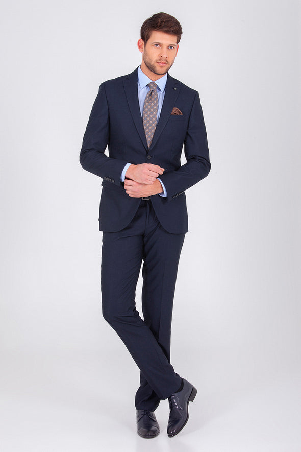 SAYKI Men's Single Breasted Slim Fit Navy Suit