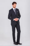 SAYKI Men's Single Breasted Slim Fit Black Suit