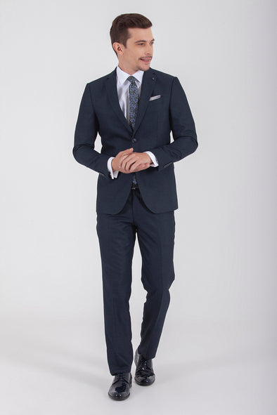 Sayki Men's Lucas Slim Fit Single Breasted Dark Navy Suit