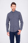 SAYKI Men's Slim Fit Grey Black Shirt