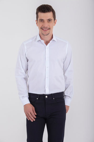 Sayki Men's Regular Fit White Shirt