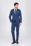 SAYKI Men's Single Breasted Slim Fit Navy Wool Suit
