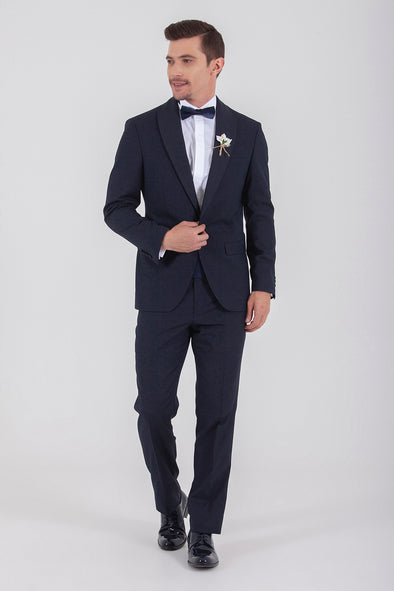 SAYKI Men's Slim Fit Single Breasted Dark Navy Tuxedo